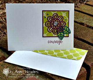 Support ribbon square on a note card