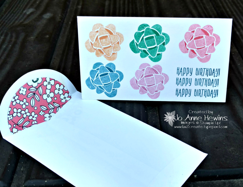 Picture Perfect Birthday bows  Narrow Note Cards & Envelopes Luv 2 Create