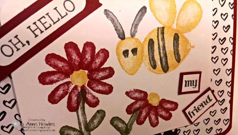 Balloon builders flower and bee close up of card