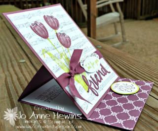 Tranquil Tulips easel card opened