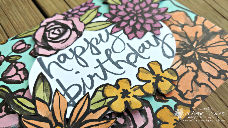 Petal Passion card with Watercolor Words stamp set by Jo Anne Hewins
