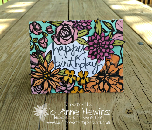 Petal Passion and Watercolor Words card by Jo Anne Hewins