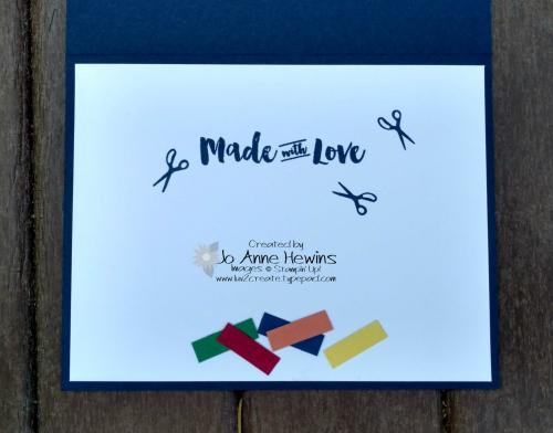 Apron of Love inside of card by Jo Anne Hewins