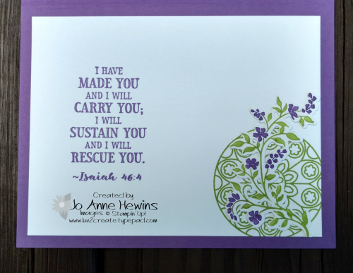 Painted Glass and Hold on to Hope inside of card by Jo Anne Hewins