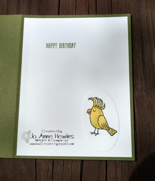 Bird Banter inside of card by Jo Anne Hewins