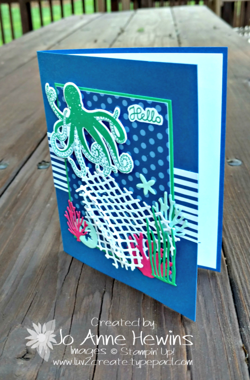 Sea of Textures card by Jo Anne Hewins with the Blueberry Bushel In Color