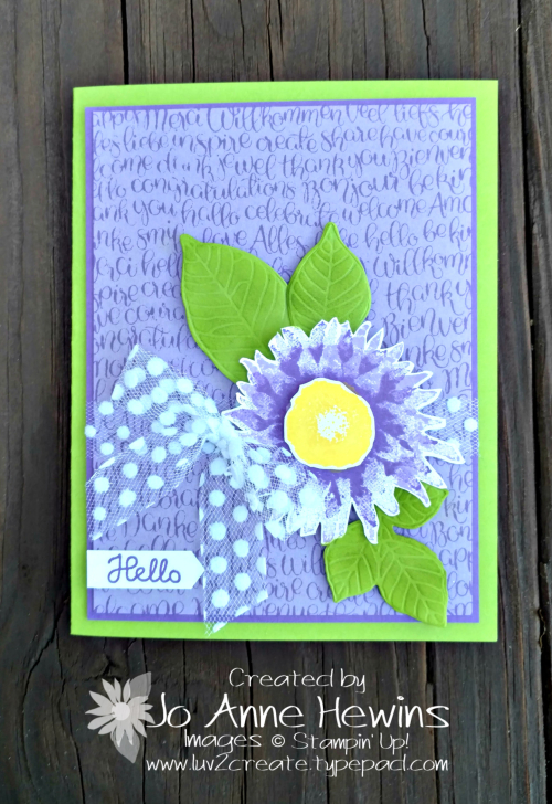 Painted Harvest  Handwritten background stamp card by Jo Anne Hewins