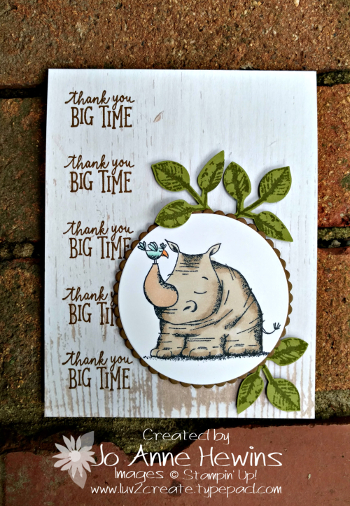 Animal Outing rhino card with leaves by Jo Anne Hewins