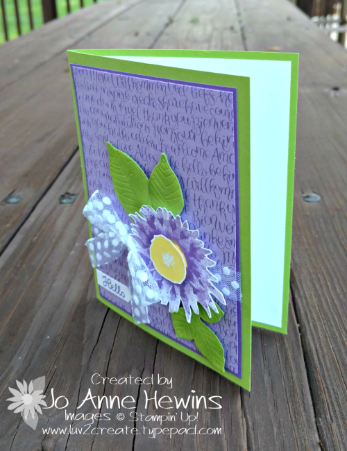 Painted Harvest card with the Handwritten stamp set by Jo Anne Hewins