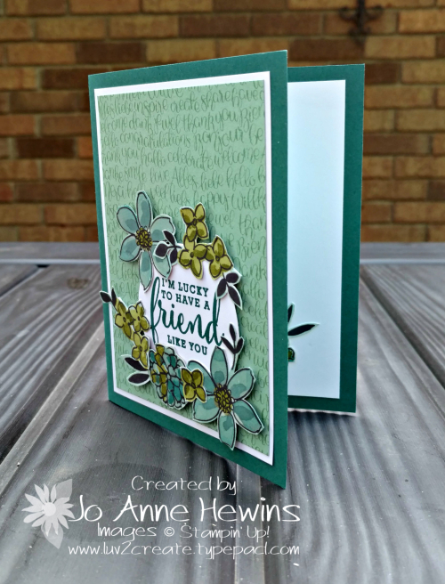 Share What You Love Specialty Designer Series Paper card with Handwritten background by Jo Anne Hewins