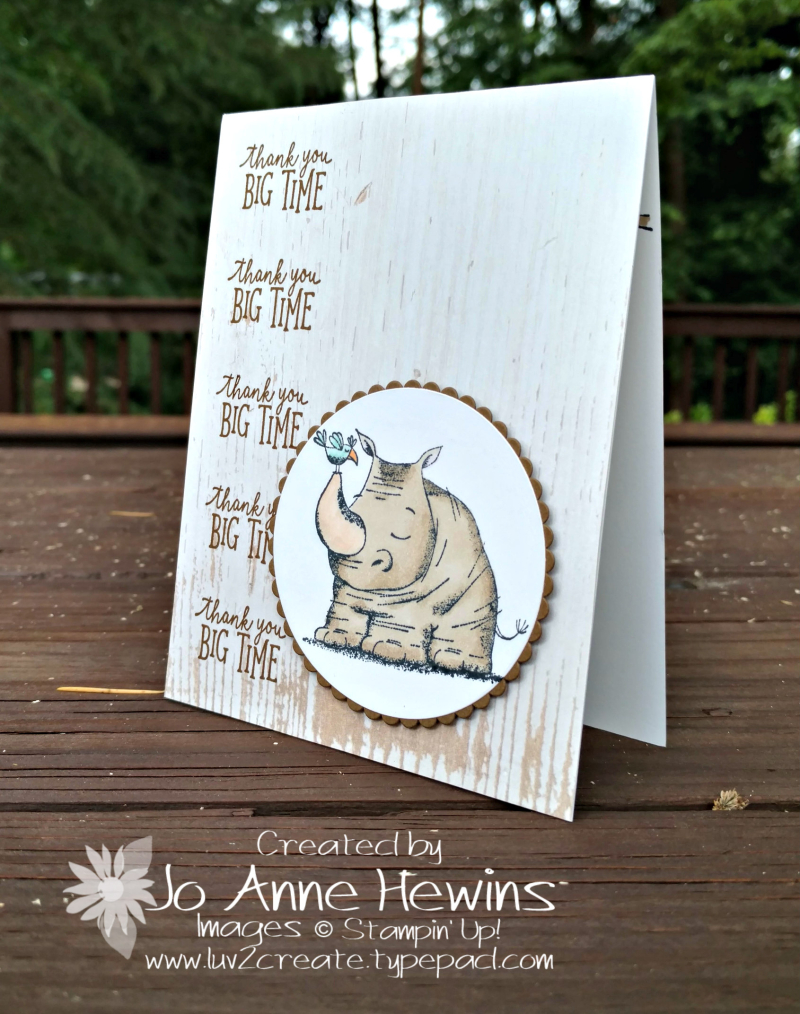 Animal Outing Rhino Thank You card by Jo Anne Hewins for Luv 2 Create