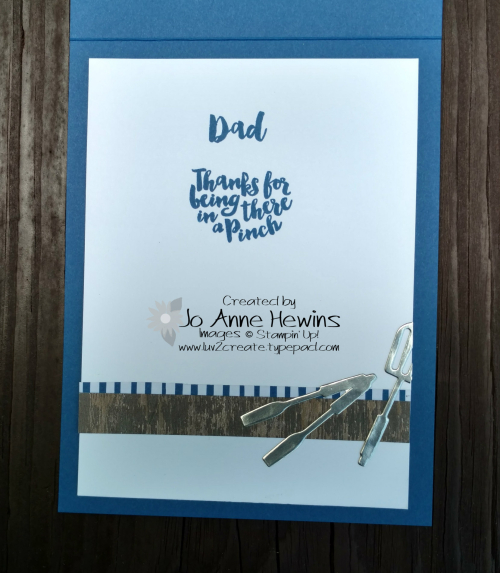 Apron of Love for Father's Day inside of card by Jo Anne Hewins