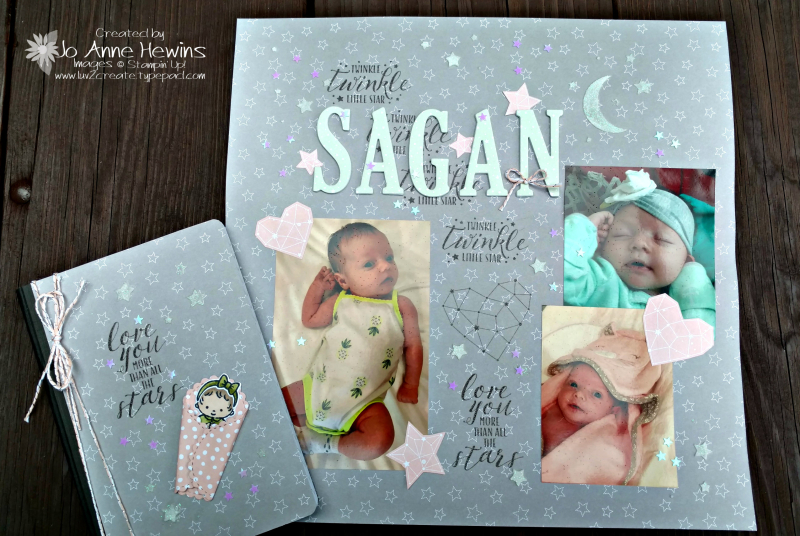 Little Twinkle scrapbook page and Sweet Baby covered notebook by Jo Anne Hewins