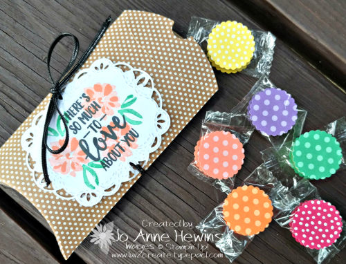 Kraft Pillow Box and the Abstract Impressions stamp set with Decorated Life Savers by Jo Anne Hewins