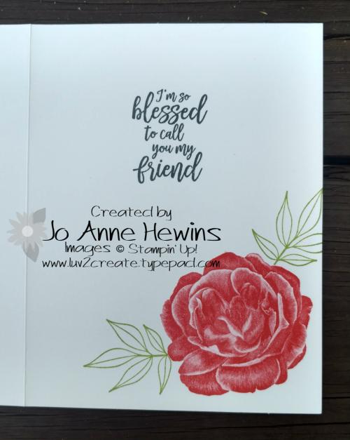 CASE of Healing Hugs catalog card inside of card by Jo Anne Hewins