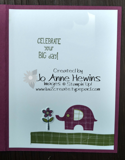 Little Elephant card inside by Jo Anne Hewins