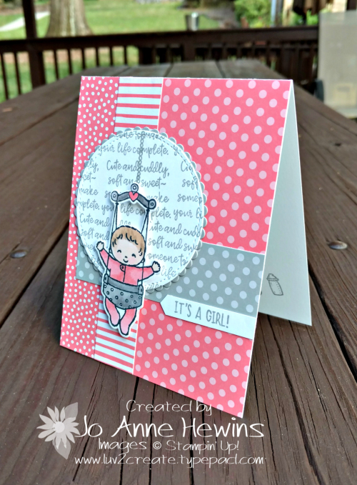 Sweet Baby bundle Flirty Flamingo baby card by Jo Anne Hewins