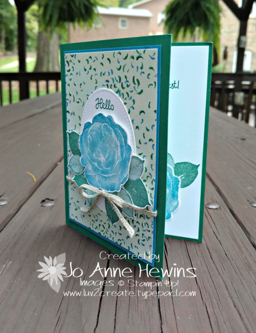 Healing Hugs with Garden Impressions card by Jo Anne Hewins