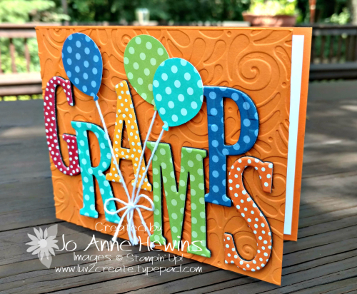 Gramps birthday card with the Large Letter Framelits by Jo Anne Hewins