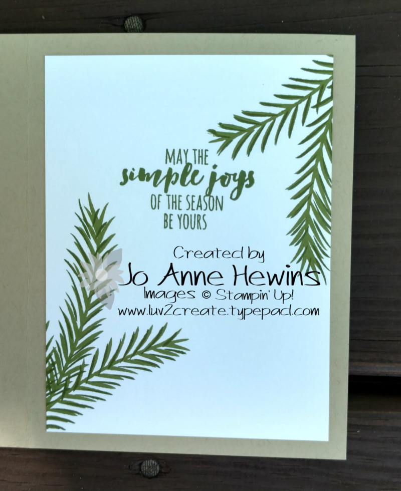 Christmas Pines inside of card by Jo Anne Hewins