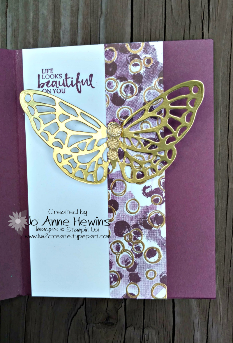 Butterfly from the Springtime Impressions that pulls through to the inside inside of the card by Jo Anne Hewins