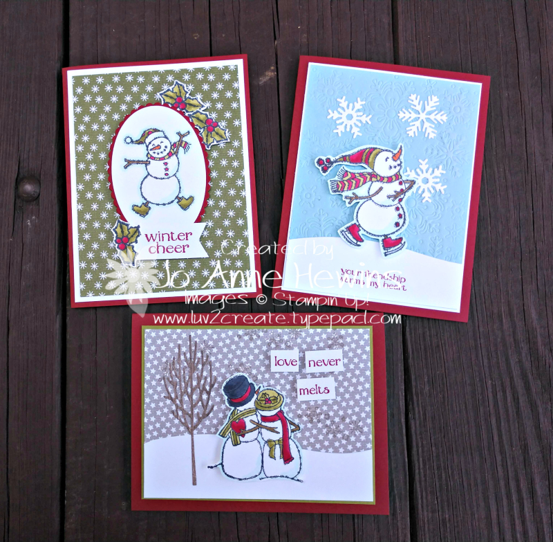Spirited Snowmen Class to Go all projects by Jo Anne Hewins