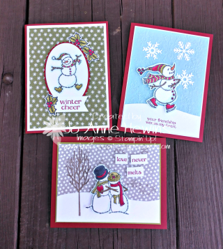 Spirited Snowmen Class to Go full project by Jo Anne Hewins