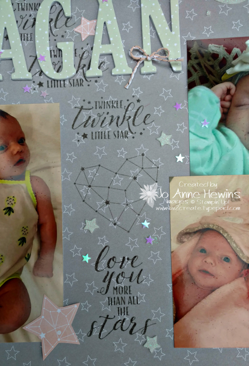Little Twinkly scrapbook page close up of center by Jo Anne Hewins