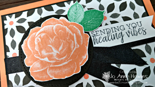 Close up of the card using the Healing Hugs stamp set by Jo Anne Hewins