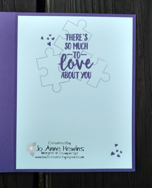 Love You to Pieces inside of card by Jo Anne Hewins