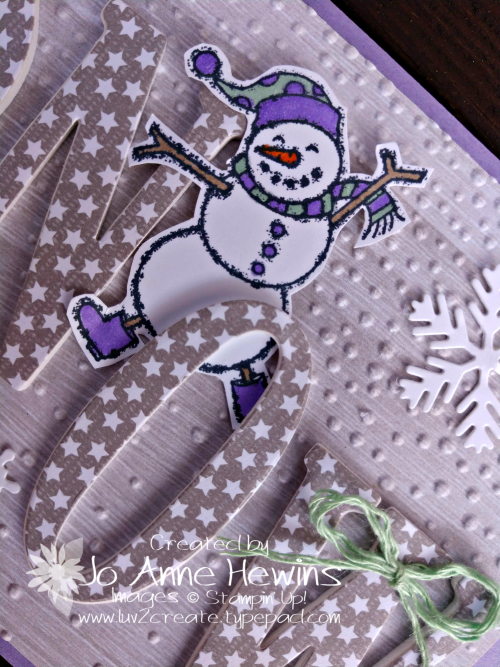 SNOW with large letters and Spirited Snowmen close up by Jo Anne Hewins