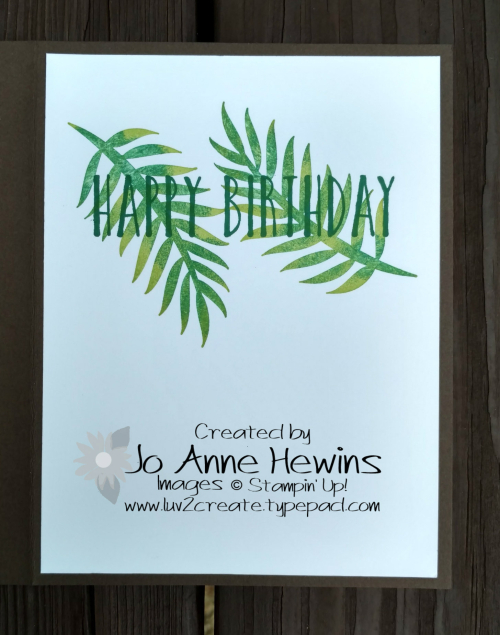 A Little Wild with Tropical Chic inside of card by Jo Anne Hewins