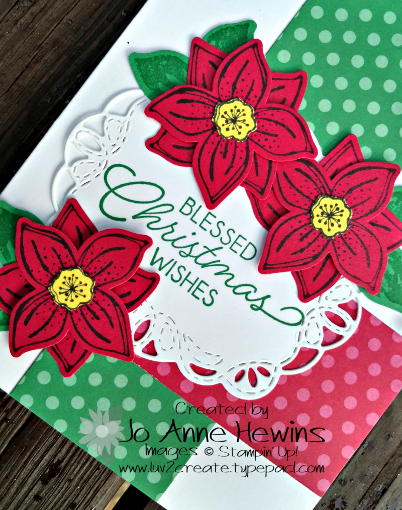 CCMC#520 Pop of Petals Christmas card close up by Jo Anne Hewins