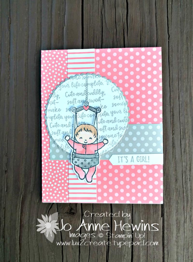 Sweet Baby bundle card in Flirty Flamingo by Jo Anne Hewins