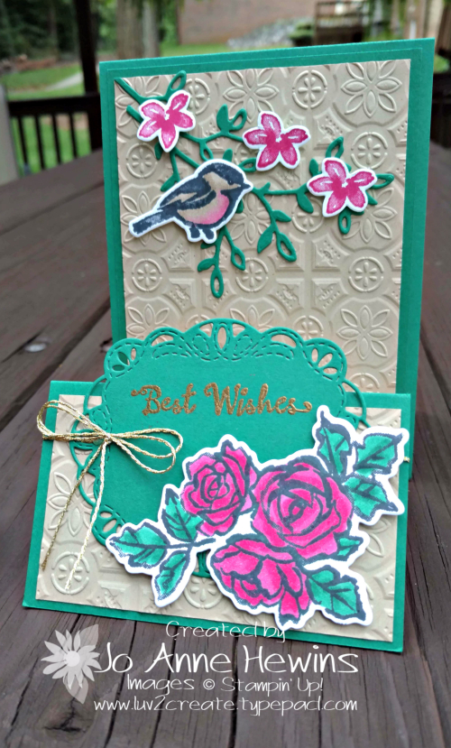Petal Palette Fun Fold card with Stitched Labels Framelits by Jo Anne Hewins