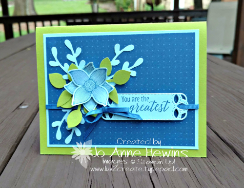 Popof Petals Card in Blueberry Bushel  Balmy Blue  and Granny Apple Green by Jo Anne Hewins