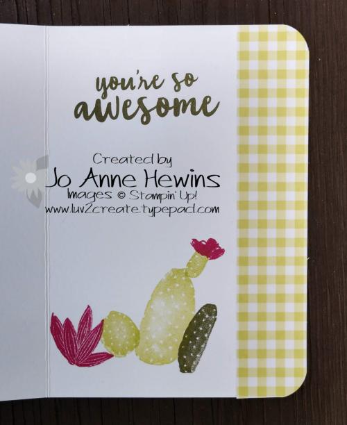 February OSAT Flowering Desert card inside by Jo Anne Hewins