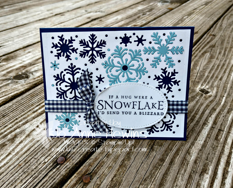Beautiful Blizzard Inset Snowflakes card by Jo Anne Hewins