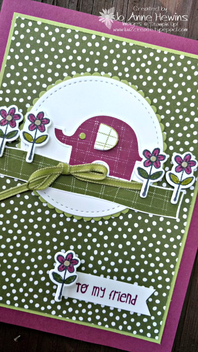Little Elephant card close up by Jo Anne Hewins
