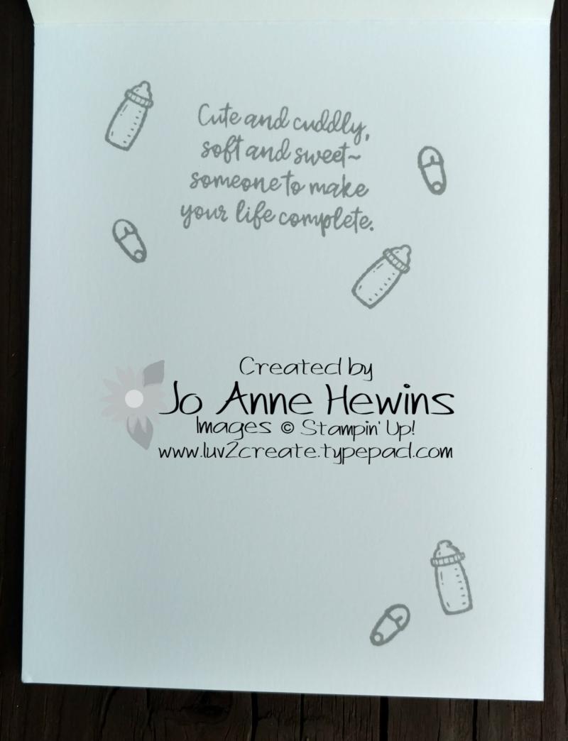 Sweet Baby bundle Flirty Flamingo card inside by Jo Anne Hewins