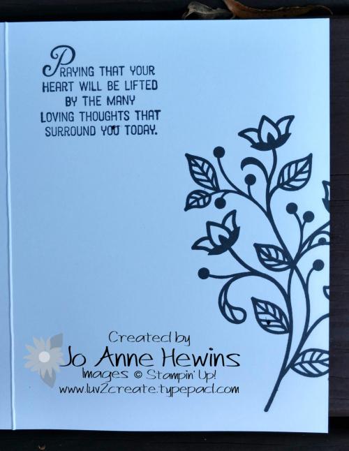 Flourishing phrases smooching inside of card by Jo Anne Hewins