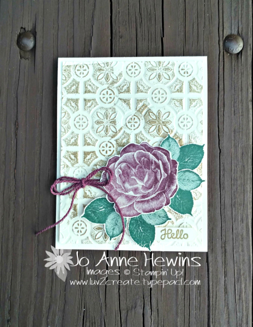 Healing Hugs with the Tin Tile Embossing Folder by Jo Anne Hewins