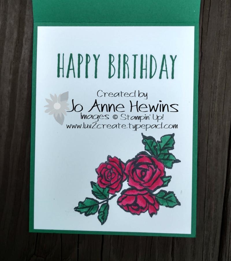 Petal Palette Fun Fold inside of card by Jo Anne Hewins