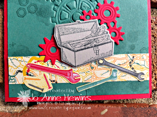 Geared Up Garage emboss tool box close up by Jo Anne Hewins