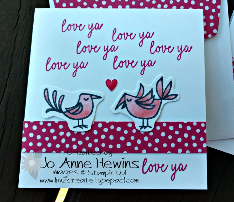 Be Mine Valentine Paper Pumpkin 3 x 3 Two Birds by Jo Anne Hewins