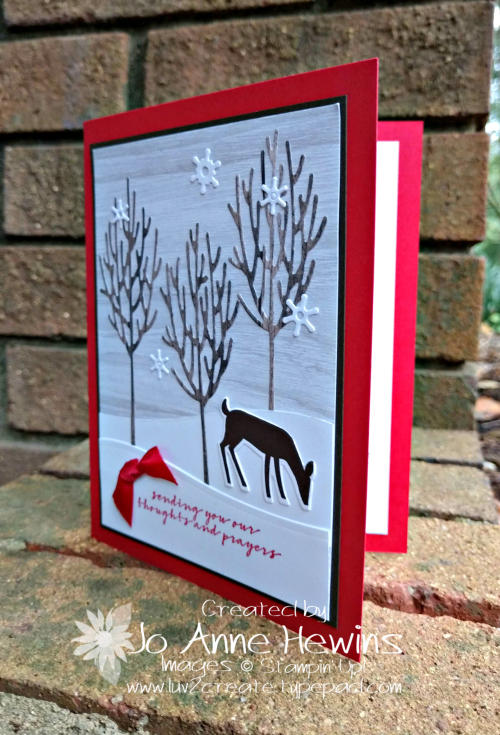 Winter Woods and Dashing Deer card by Jo Anne Hewins