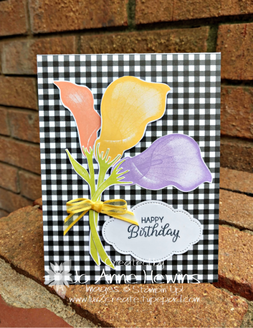Lasting Lily card coordinates with NC frame by Jo Anne Hewins