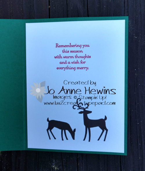 Dashing Deer inside of card by Jo Anne Hewins