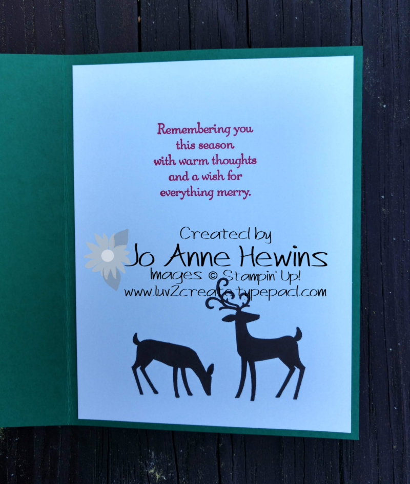 Dashing Deer inside of card by Jo Anne Hewins