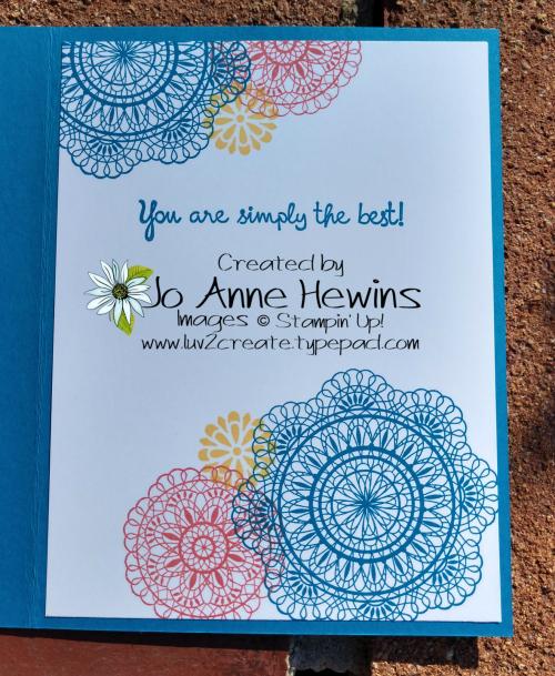Dear Doily Triple Stamping inside by Jo Anne Hewins